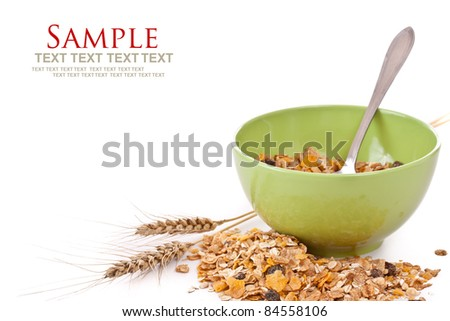 Delicious and healthy wholegrain muesli breakfast, with lots of dry fruits