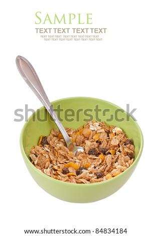 Delicious and healthy wholegrain muesli breakfast, with lots of dry fruits - stock photo