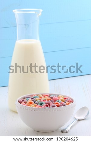 delicious and nutritious, cereal loops, with healthy organic milk - stock photo