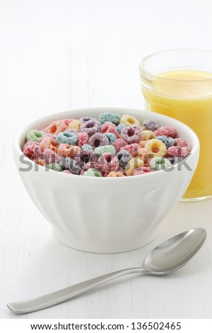 delicious and nutritious fruit cereal loops flavorful, healthy addition to kids breakfast. - stock photo