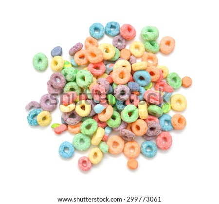 Delicious and nutritious fruit cereal loops flavorful, healthy and funny addition to kids breakfast - stock photo