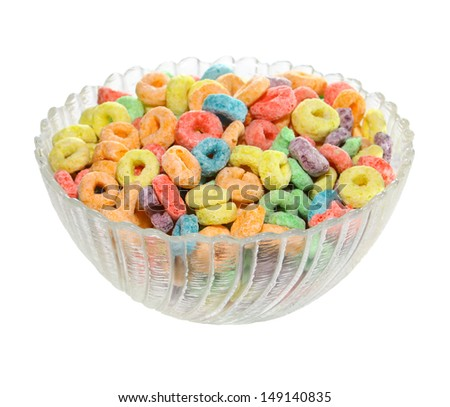 Delicious and nutritious fruit cereal loops flavorful isolated on a white background, healthy and funny addition to kids breakfast  - stock photo