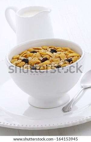 Delicious and nutritious lightly toasted breakfast muesli with dry cranberries. - stock photo