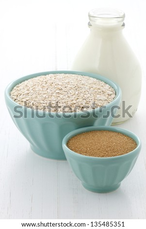 Delicious and nutritious oatmeal ingredients, the perfect healthy way to start your day. - stock photo