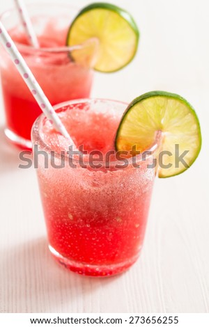 Delicious and refreshing watermelon and lime drink - stock photo