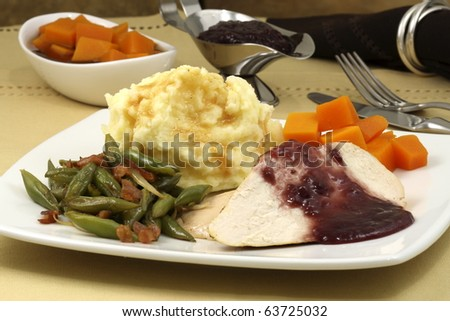 delicious and very healthy turkey breast diner, great and easy way to make a healthy thanksgiving diner ,christmas day or new years eve diner - stock photo