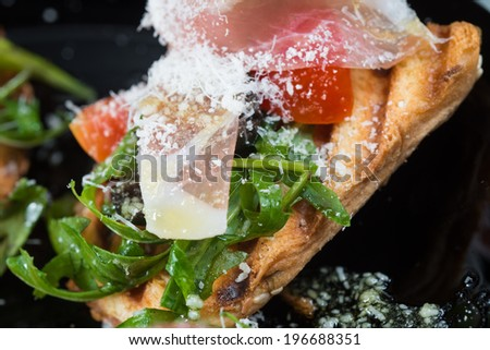 Delicious appetizer canapes - stock photo