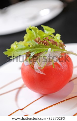 Delicious appetizer with tomatoes