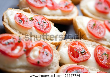 delicious appetizers with tomatoes and mozzarella cheese - stock photo