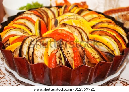 Delicious appetizing, just cooked dish ratatouille. close-up - stock photo