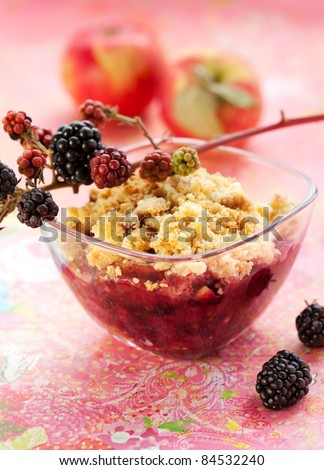 Delicious apple and blackberry crumble - stock photo