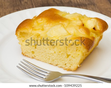 Delicious apple cake with fork on white plate - stock photo