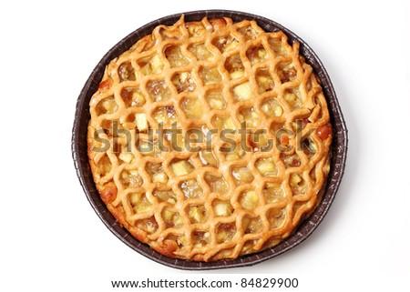 Delicious apple pie on white background - stock photo