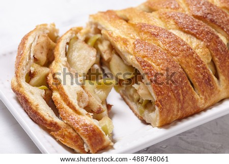 Delicious apple strudel with cinnamon pie spices