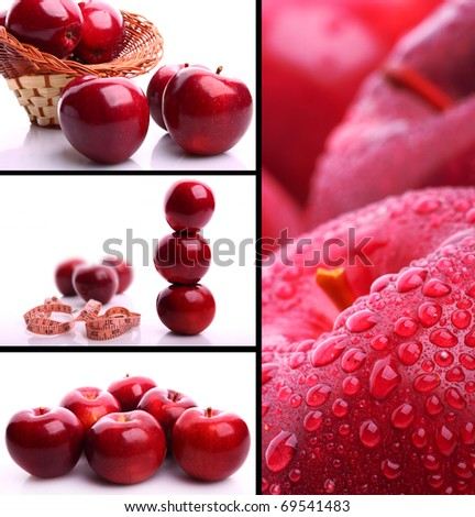 Delicious apples collage - stock photo