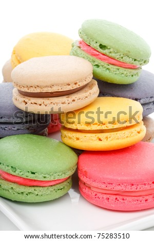Delicious assorted macaroons on a serving dish.  White background. - stock photo
