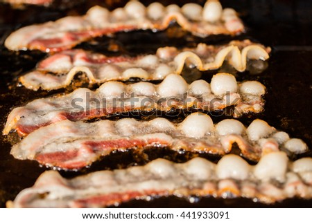 Delicious bacon grill for breakfast - stock photo