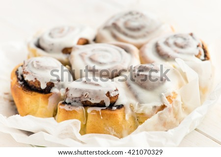 Delicious baked cinnamon rolls, Buns Macro with shallow dof - stock photo