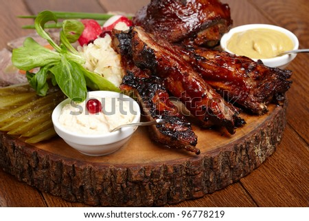 delicious BBQ ribs - stock photo