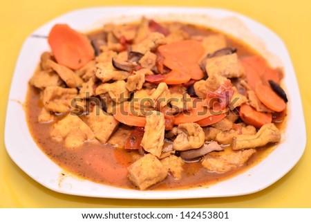 Delicious bean curd dish - stock photo