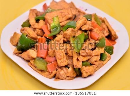 Delicious bean curd dish portrait - stock photo