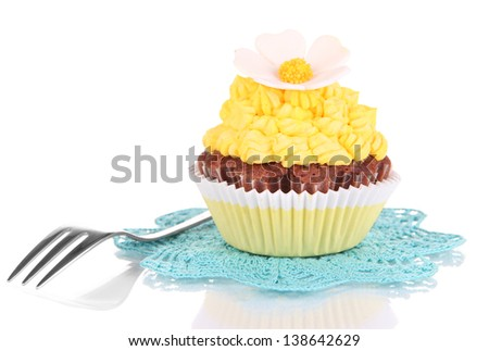 Delicious beautiful cupcake isolated on white