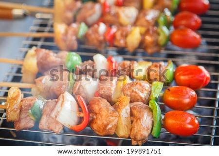 delicious beef bbq on grill - stock photo