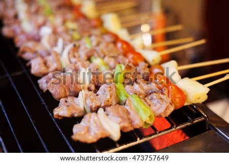 delicious beef bbq on grill, selective focus
