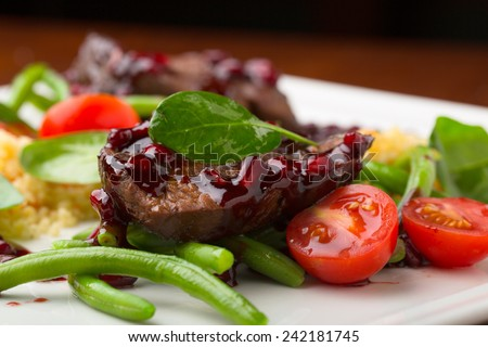 delicious beef meat with vegetables - stock photo