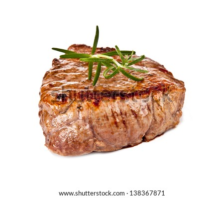 Delicious beef steak isolated on white background - stock photo