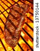 Delicious beef steak on a fire hot barbecue grill. - stock photo
