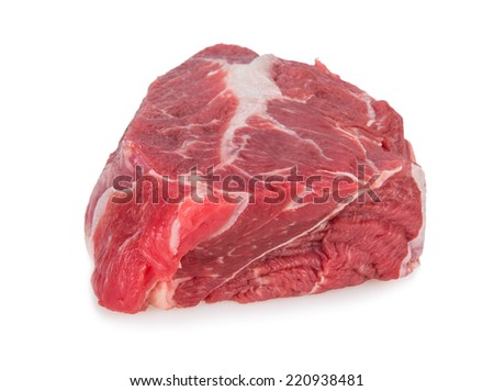 Delicious Beef steak on white background, close-up