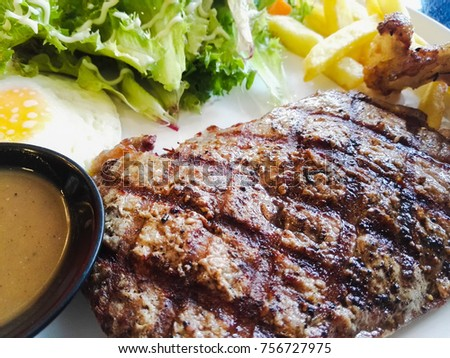 Delicious beef steak ready to eat.