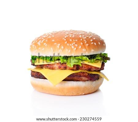 Delicious big ham burger isolated on white - stock photo