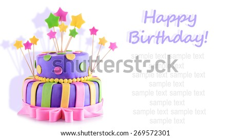 Delicious birthday cake isolated on white - stock photo
