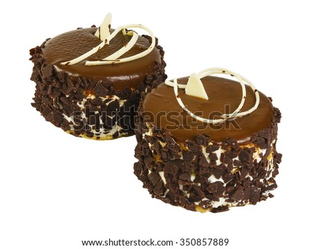 Delicious biscuit cake with chocolate isolated on white background - stock photo