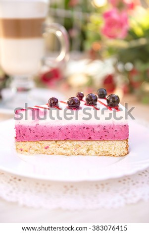 Delicious biscuit cake with sour cream and black currant
