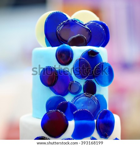 Delicious blue wedding cake  - stock photo