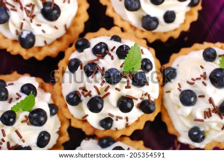 delicious blueberry tartlets with whipped cream and chocolate sprinkles-top view - stock photo