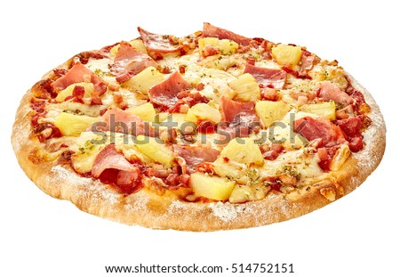 Delicious boiled ham with pineapple called pizza hawaii isolate on white background
