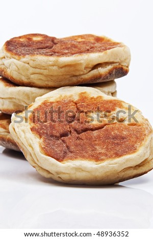 Delicious bread on white background with reflection