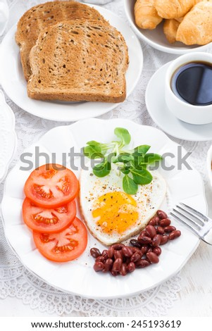 delicious breakfast for Valentine's Day, vertical, top view, close-up - stock photo