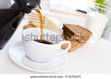 Delicious breakfast /To pour coffee / Black coffee, cheese, wholemeal bread, milk - stock photo