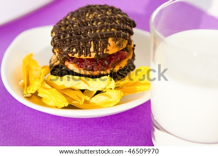 delicious breakfast with flowers - stock photo
