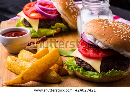Delicious Burger & Fries  - stock photo