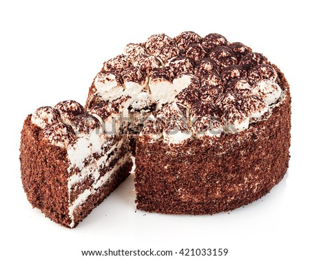 Delicious cake close-up isolated on a white background. - stock photo