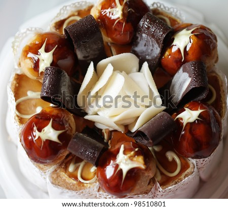 delicious cake, macro shot - stock photo