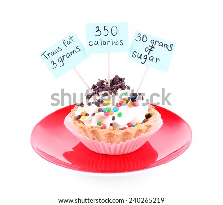 Delicious cake with calories count labels on color plate isolated on white background - stock photo