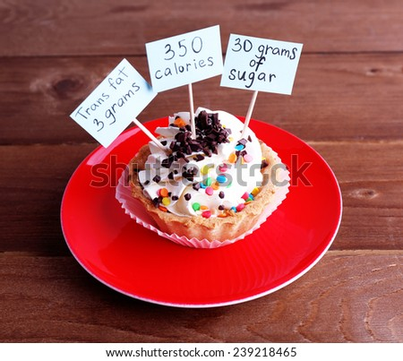Delicious cake with calories count labels on color plate on wooden table background - stock photo