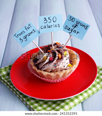 Delicious cake with calories count labels on color plate with napkin, on color wooden table background - stock photo